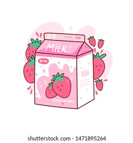 Carton of tasty strawberry milk. Japanese style packaging design. Asian product. Hand drawn colored trendy vector illustration. Kawaii anime design. Cartoon style