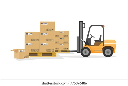 The cartons in the factory are packed with mechanical arms and forklifts and vector illustrations