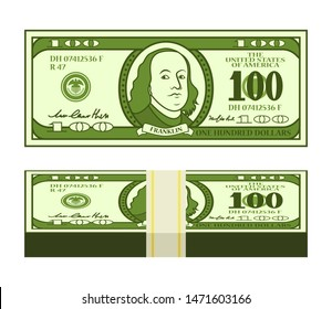 Cartoon 100 dollar bill with stylized Franklin portrait. Money pack with strap. Play money or fake banknote. Vector illustration.