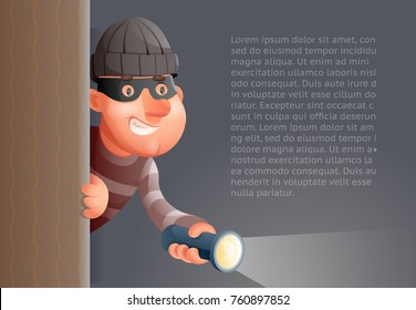 Cartoon 3d Criminal Thief Character Peeping Flashlight Out Corner Design Vector illustration