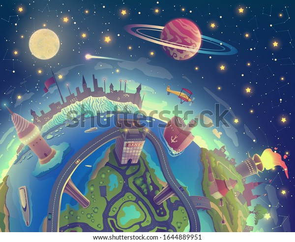 Cartoon 3d Earth painting landscape in space, fantasy earth over magic night sky with stars, Moon and planet illustration in vector, globe drawing as nature. Travel map for tourism.