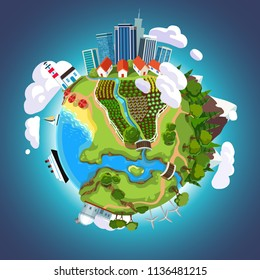 Cartoon 3D earth planet globe in space with city skyscrapers, nature, forest, mountains, garden, sea, ship, buildings. Earth day green ecology concept. Clipart design flat vector isolated illustration