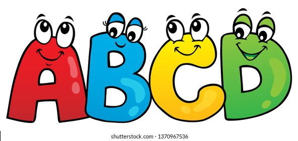 Cartoon ABCD letters theme 1 - eps10 vector illustration.