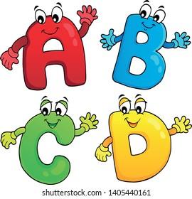 Cartoon ABCD letters theme 2 - eps10 vector illustration.