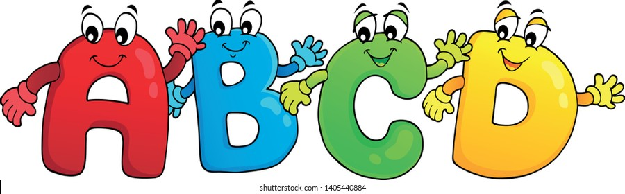 Cartoon ABCD letters theme 3 - eps10 vector illustration.