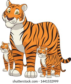 Cartoon Adult tiger and baby tiger isolated on white background