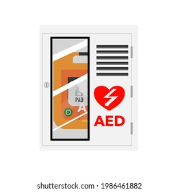 Cartoon of a AED wall box on white background.
