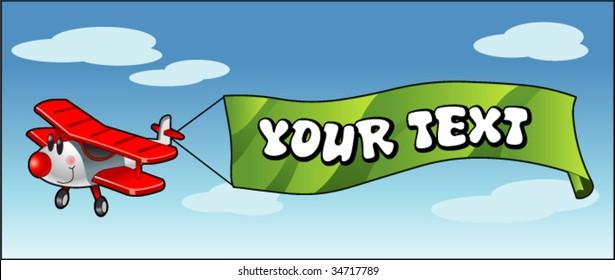 cartoon aeroplane pulling banner