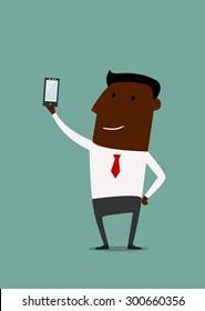 Cartoon african american businessman taking selfie using a mobile phone, flat style
