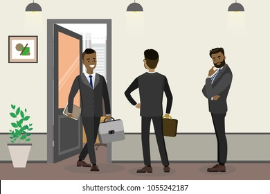 Cartoon african american businessman and waiting people near office,hall interior with open door, flat vector illustration