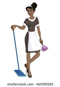 Cartoon African American chambermaid with mop and duster, vector image, eps10