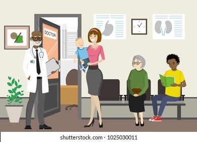 Cartoon african american doctor and waiting people near doctor office,hall interior with open door, flat vector illustration