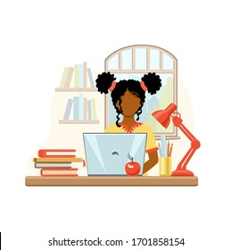 Cartoon african american girl studying at home with computer and books on window background. School girl writing for homework. Online education concept. Vector illustration drawing in flat style.