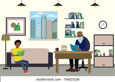 Cartoon african american teenager and grandfather read books, interior design with furniture,flat vector illustration
