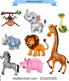 Cartoon african animals collection