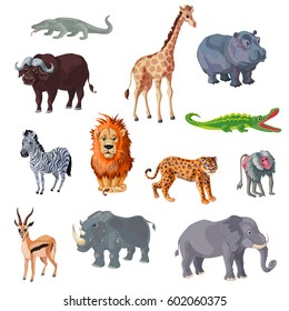 Cartoon african animals set with colorful wild mammals and reptiles isolated vector illustration