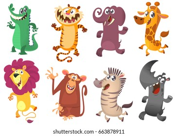 Cartoon African animals set. Vector illustrations of crocodile, tiger, elephant, giraffe, lion, monkey, zebra and rhino.