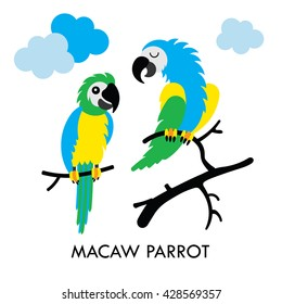Cartoon african Macaw birds. Vector cartoon african Macaw birds made in flat style. Isolated wild african parrots Cartoon wild african parrots background. Vector african Macaw Parrot.