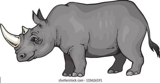 Cartoon African rhino