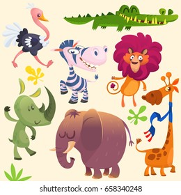 Cartoon African savanna animal set. Set of cartoon jungle animals flat vector illustration. Crocodile alligator, giraffe, rhino, zebra, ostrich, lion and elephant. Design logo, icon or emblem isolated