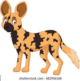 Cartoon African wild dog