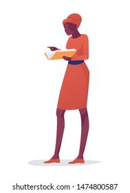 Cartoon Afro American Lady Wearing Elegant Dress or Librarian Stands Holding Book. Female Character Reading. Book Festival. Literature Fan and Bookworm. Vector Isolated Flat Illustration