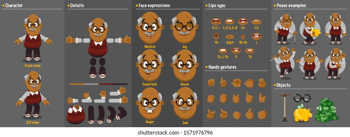 Cartoon afro-american aged man constructor for animation. Parts of body: legs, arms, face emotions, hands gestures, lips sync. Full length, front, three quater view. Set of ready to use poses, objects
