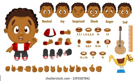 Cartoon afro-american boy constructor for animation. Parts of body: legs, arms, face emotions, hands gestures, lips sync. Full length, front, three quater view. Set of ready to use poses, objects.