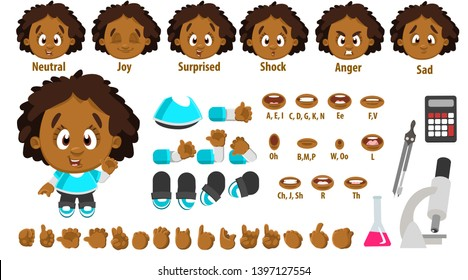 Cartoon afro-american girl constructor for animation. Parts of body: legs, arms, face emotions, hands gestures, lips sync. Full length, front, three quater view. Set of ready to use poses, objects.