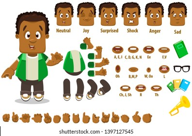Cartoon afro-american man constructor for animation. Parts of body: legs, arms, face emotions, hands gestures, lips sync. Full length, front, three quater view. Set of ready to use poses, objects.