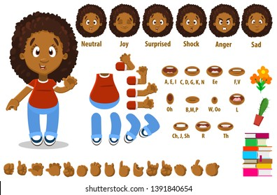 Cartoon afro-american woman constructor for animation. Parts of body: legs, arms, face emotions, hands gestures, lips sync. Full length, front, three quater view. Set of ready to use poses, objects.