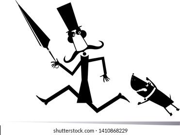 Cartoon aggressive dog and frightened man black on white isolated. Aggressive dog pursues a frightened long mustache man in the top hat with umbrella black on white illustration