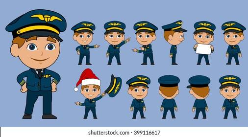 Cartoon Airplane Pilot Vector Set