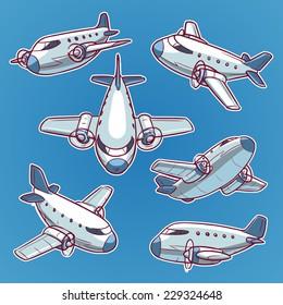 cartoon airplane set