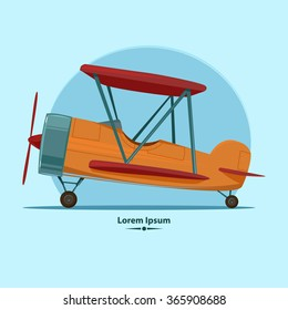 cartoon airplane, for your design, color vector illustration