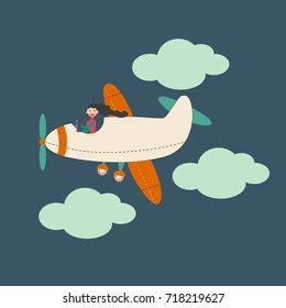 Cartoon airplanes and clouds. Young beautiful woman as a pilot. Vector illustration in bright colors.