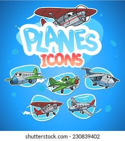 cartoon airplanes icon set