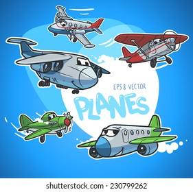 cartoon airplanes set