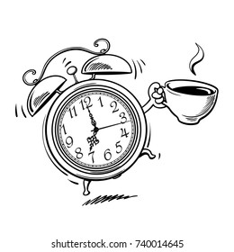Cartoon alarm clock with cup of coffee ringing. Wake-up time. Black and white sketch. Hand drawn vector illustration isolated on white background.
