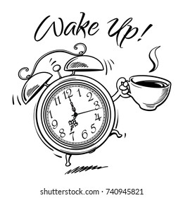 Cartoon alarm clock with cup of hot coffee ringing. Wake-up text. Sketch style black and white hand drawn vector illustration isolated on white background.