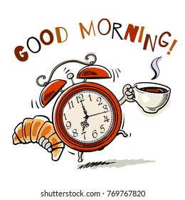Cartoon alarm clock with cup of hot coffee and croissant ringing. Good Morning text. Wake-up time. Sketch style hand drawn vector illustration isolated on white background.