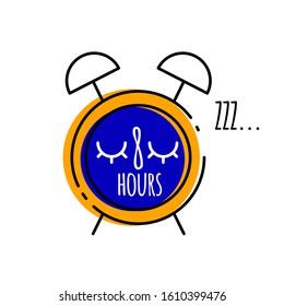 Cartoon alarm clock with inscription eight  in flat style, vector illustration of healthy sleep