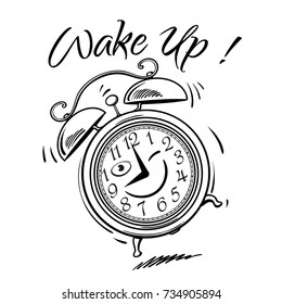 Cartoon alarm clock ringing. Wake-up time. Black and white sketch. Hand drawn vector illustration isolated on white background.