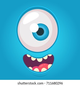 Cartoon alien face. Vector Halloween blue monster with one eye. Design for print, decoration, logo, emblem, book illustration, merchandise, t-shirt