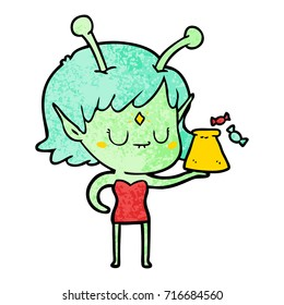 cartoon alien girl with bag of candy