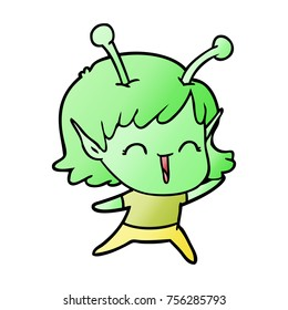 cartoon alien girl laughing