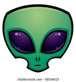 Cartoon alien head illustration with big dark eyes.
