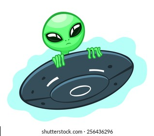 Cartoon alien looks out of a flying saucer.