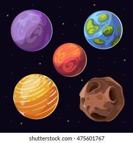 Cartoon alien planets, moons asteroid on space background. Celestial bodies and colored planet. Vector illustration