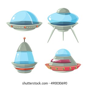 Cartoon alien spaceship, spacecrafts and ufo vector set. Cosmic ship in form saucer for transportation illustration